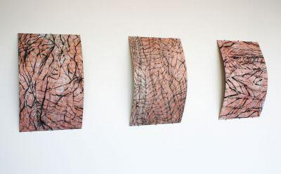 Subkutan, 2015, Charcoal, japanese paper, multilayerd, Canvas, á 155 x 100 cm