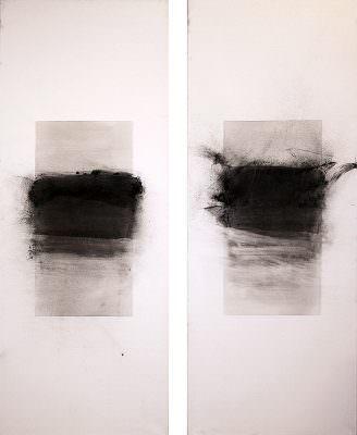 Zeitraum 1 und 2, 2014, Charcoal, Seawater (Opatja), Acryl, Canvas, á 180 x 70 cm