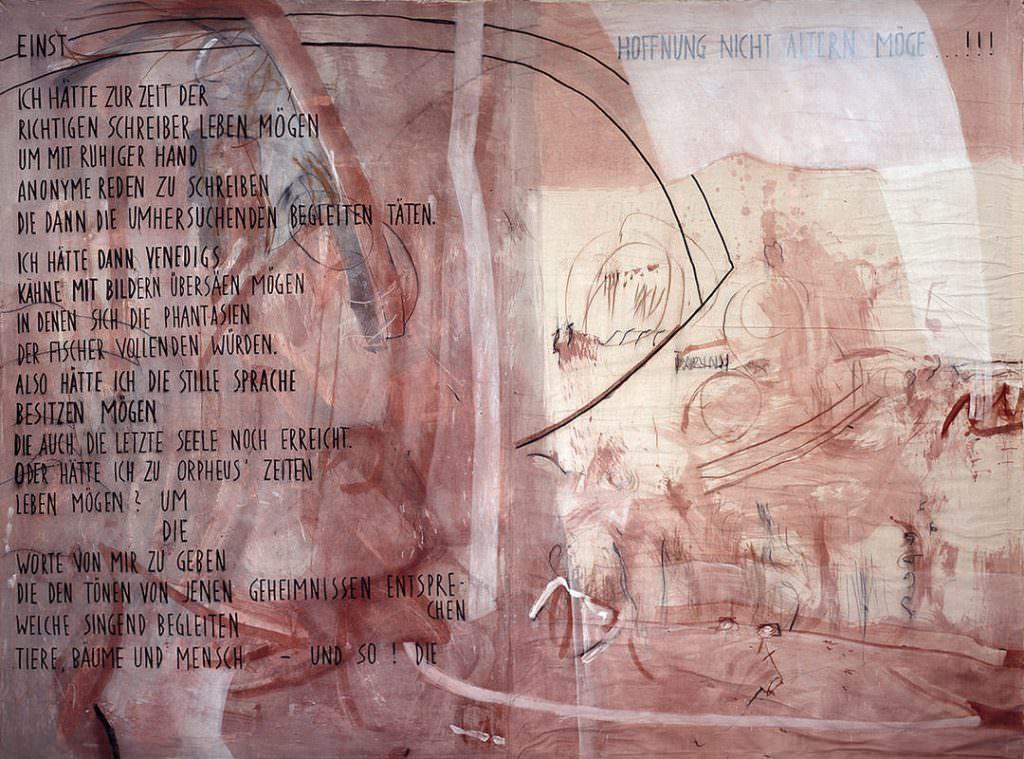 Notiz an Freunde, Buchmalerei 300 x 150 cm, 1996
