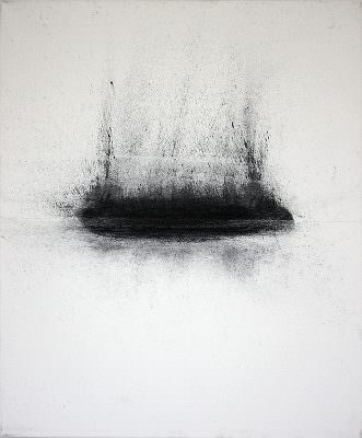 Pegel 1, 2010, Charcoal, Water, Tibel, Canvas, 60 x 50 cm