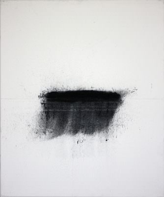 Pegel 2, 2010, Charcoal, Water, Tibel, Canvas, 60 x 50 cm