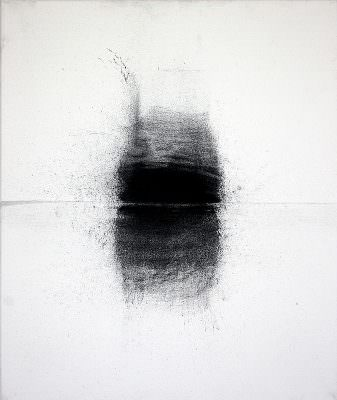 Pegel 3, 2010, Charcoal, Water, Tibel, Canvas, 60 x 50 cm