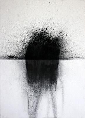 Loiben 1, 2014, Charcoal, Water (Oberloiben/Donau), Canvas, 70 x 50 cm