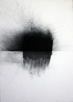 Loiben 2, 2014, Charcoal, Water (Oberloiben/Donau), Canvas, 70 x 50 cm