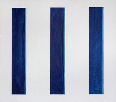 Lichteinfall I.II.III , 150 x 160 cm, Collage Leinwand, Cyanotypie auf Japanpapier