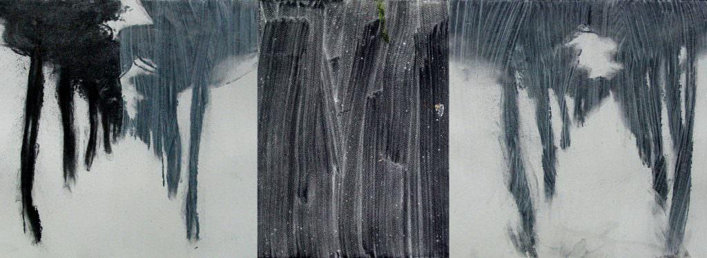 Phänomen Allee, Triptychon, Acryl, Papier, 40 x 100 cm