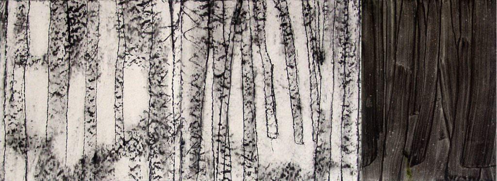 Woods, Triptychon, Acryl, Kohle, Papier, 40 x 100 cm