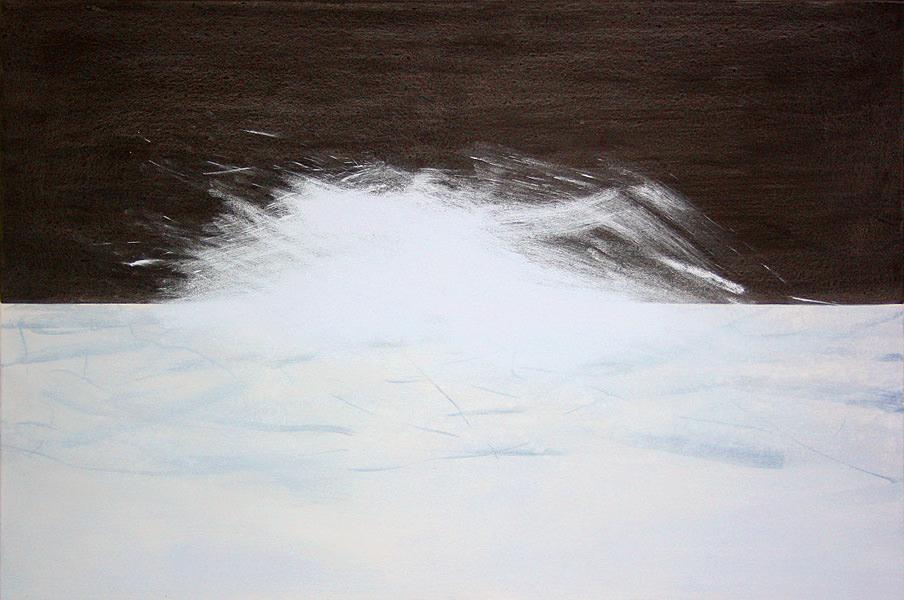 Auf seltener Erde der Horizont, Kohle, Acryl und Neodym, 100 x 150 cm