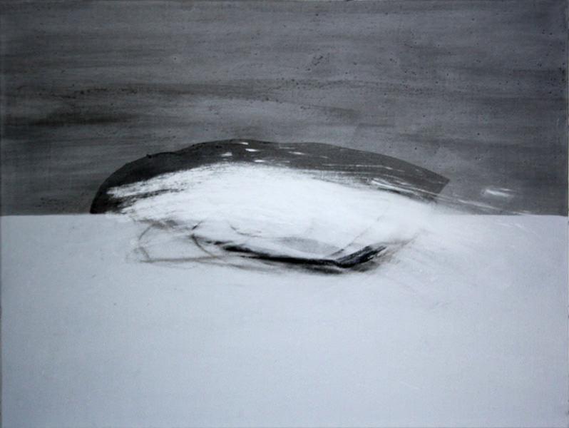 Auf seltener Erde,, Kohle, Acryl und Neodym, 100 x 150 cm