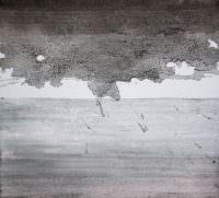 Aussicht auf seltene Erde, Kohle, Acryl und Neodym, Holz, Leinwand, 17 x 19 cm