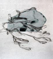 Derrelicto, Kohle und Acryl auf Papier, 40 x 40 cm