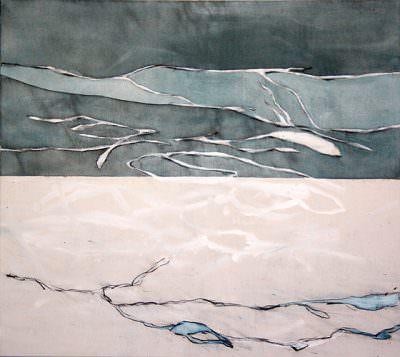 Derrelicto, Kohle und Acryl auf Leinwand, 90 x 100 cm