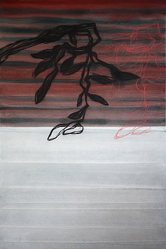 Derrelicto, Kohle und Acryl auf Leinwand, 150 x 100 cm