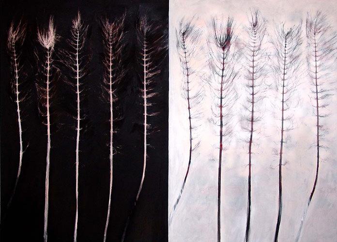 Zeit:Zeit, 2007, Kohle, Acryl, Leinwand, 150 x 200 cm