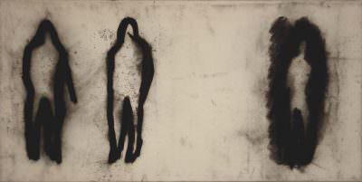 Begegnung 2011, Kohle/Leinwand, 45 x 90 cm