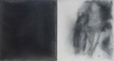 Begegnung 2004, Kohle/Leinwand, 41 x 74 cm