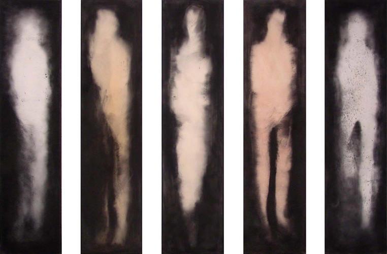 Ritual:FIgural (Serie), Kohle, Acryl, Leinwand, á 180 x 45 cm