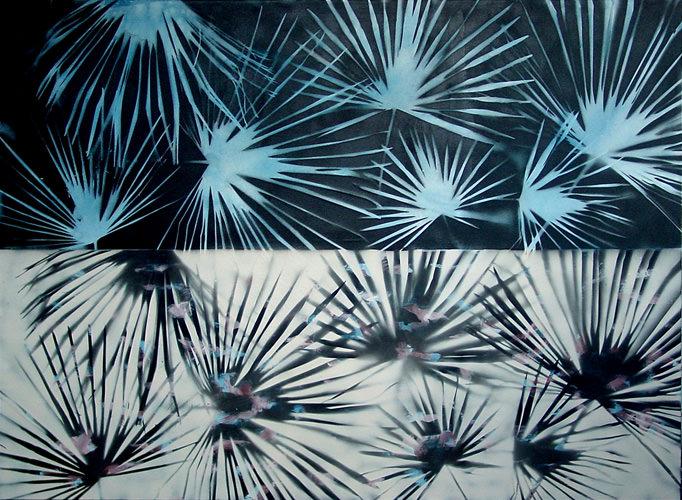 Gegenlicht, Kohle, Acryl auf Leinwand, 150 x 210 cm