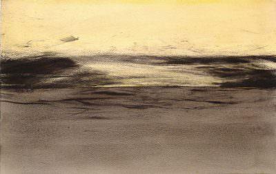 Unter dem Horizont 2009, Kohle, Acryl, Papier, 45 x 70 cm