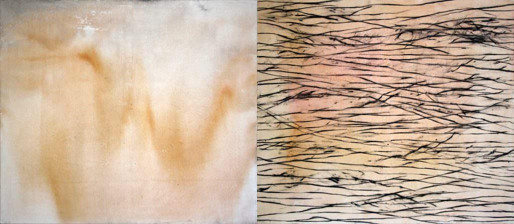 Lines and Lanes, Kohle und Acryl auf Leinwand, zweiteilig, 105 x 220 cm