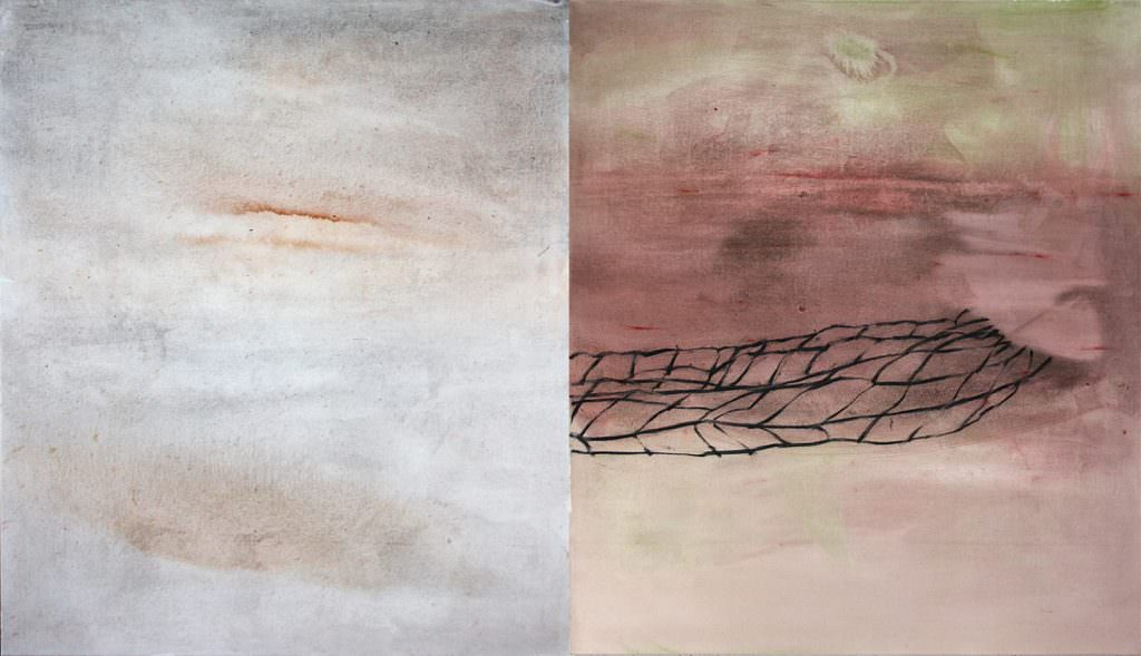 Lines and Lanes, Kohle und Acryl auf Leinwand, zweiteilig, 115 x 200 cm