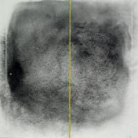 Peilung Gelb, Kohle, Collage, Papier, 40 x 40 cm