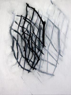 Schwebe 2017, Acryl und Kohle auf Leinwand 100 x 75 cm