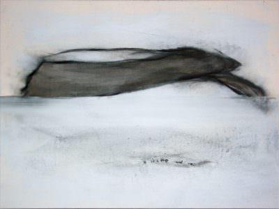 Setting auf seltener Erde, Kohle, Acryl und Neodym, Leinwand, 60 x 80 cm
