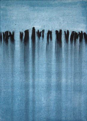 Sog 2009, Kohle, Acryl, Leinwand, 70 x 50 cm