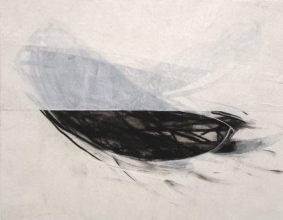 Unter dem Horizont, 2008 Kohle, Acryl, Leinwand, 55 x 80 cm