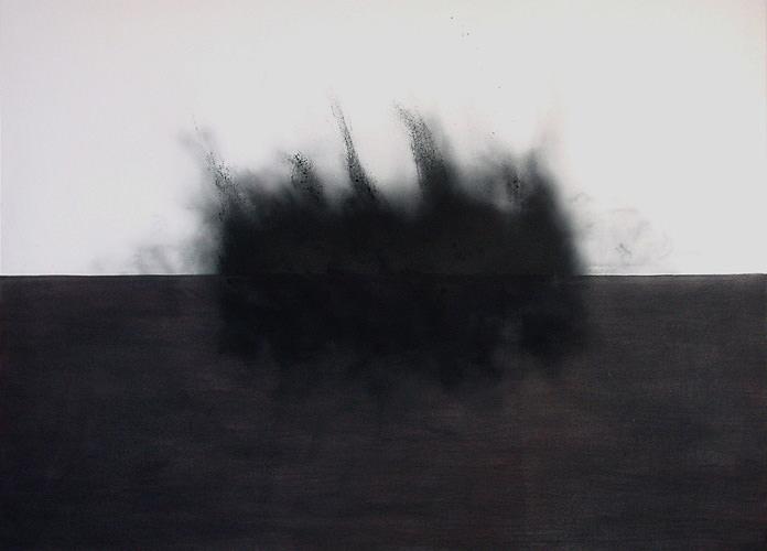 Unter dem Horizont, 2009 Kohle, Acryl, Leinwand, 150 x 210 cm