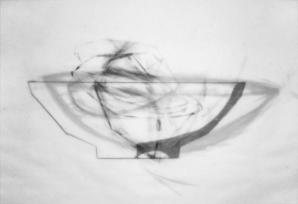 Schale, Graphit auf 5 Lagen Transparentpapier 29 x 42 cm