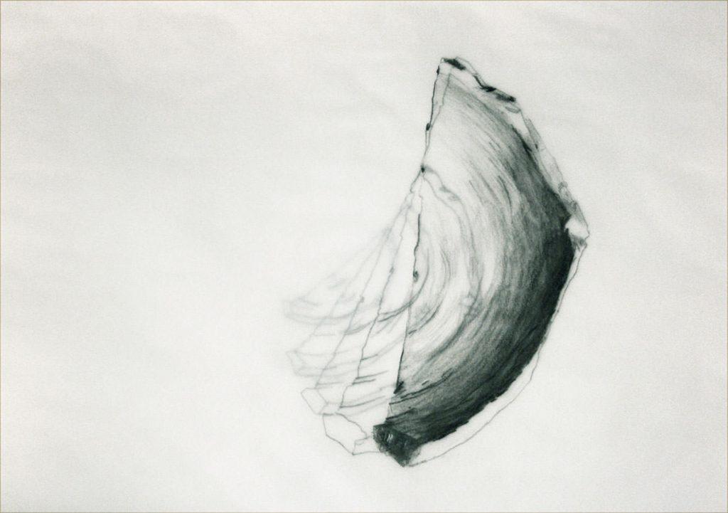 Scherbe, Graphit auf 5 Lagen Transparentpapier 29 x 42 cm