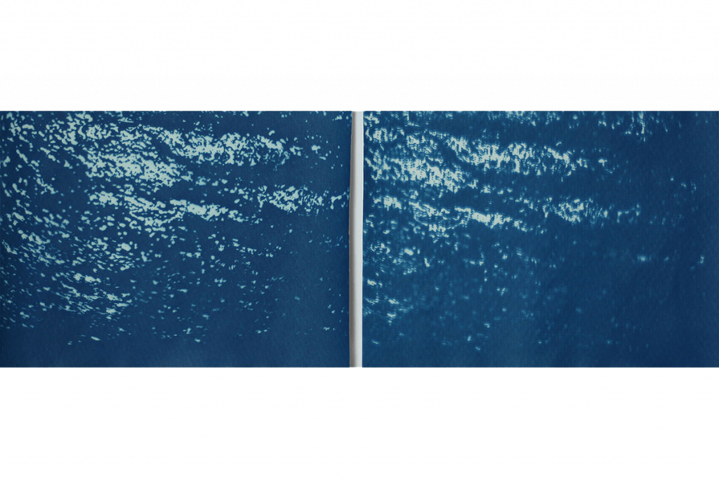 Blaue Wasserstruktur Cyanotypie