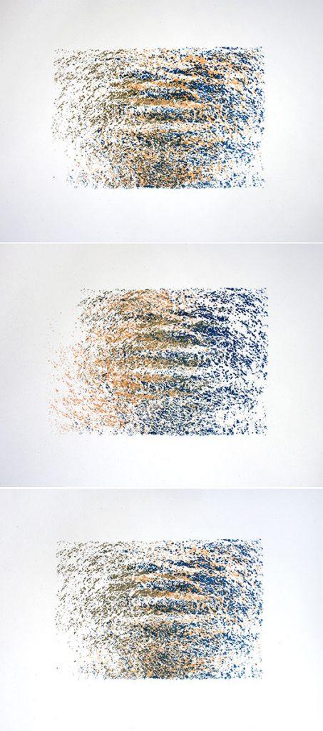 drei Siebdrucke mit Wasserstrukturen in Blau und Gold