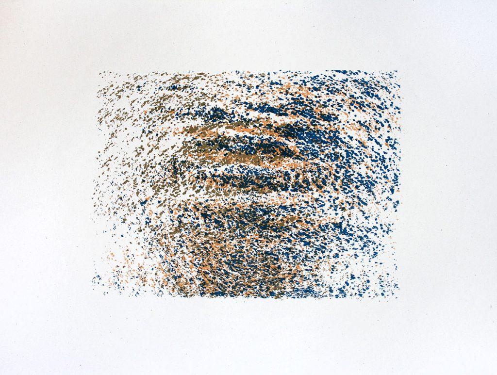 Siebduck mit Wasserstruktur in Blau und GOld
